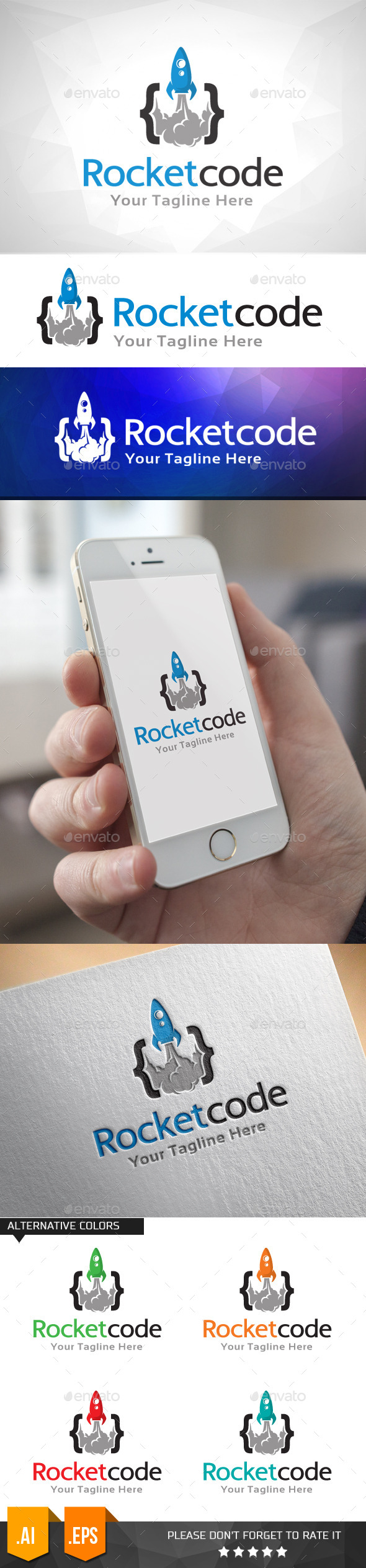 GraphicRiver Rocket Code Logo Template 11031883