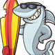 Shark with Surfboard - GraphicRiver Item for Sale