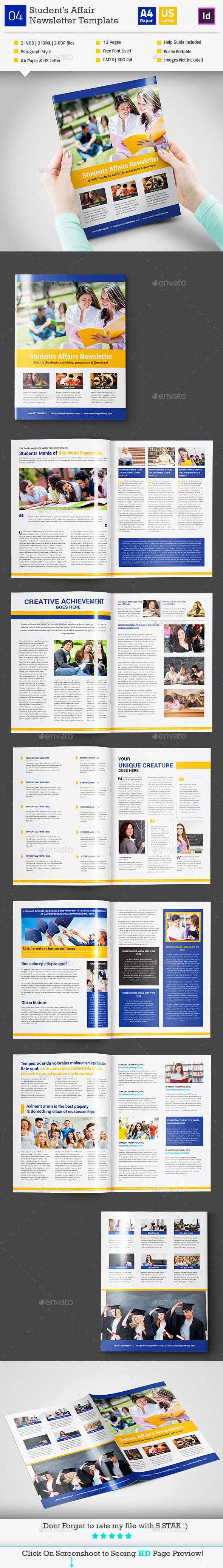 GraphicRiver Student s Affair Newsletter Template InDesign V4 11031909