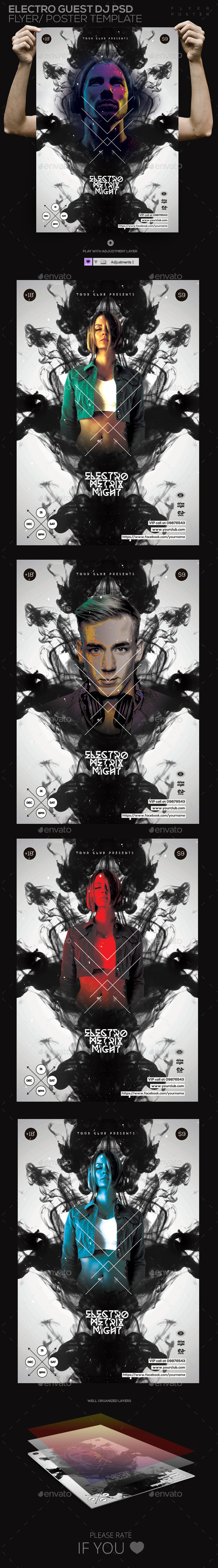 GraphicRiver Electro Guest Dj PSD Flyer Poster Template 11032100