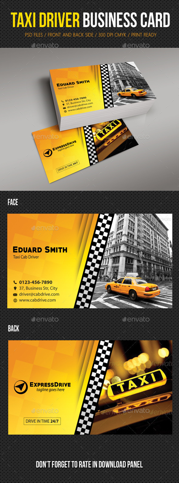 GraphicRiver Taxi Driver Cab Business Card 11032652