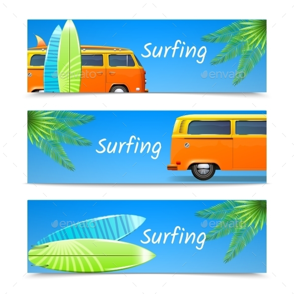 GraphicRiver Surfing Banners Set 11033133