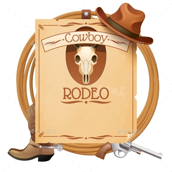 GraphicRiver Rodeo Retro Poster 11033135