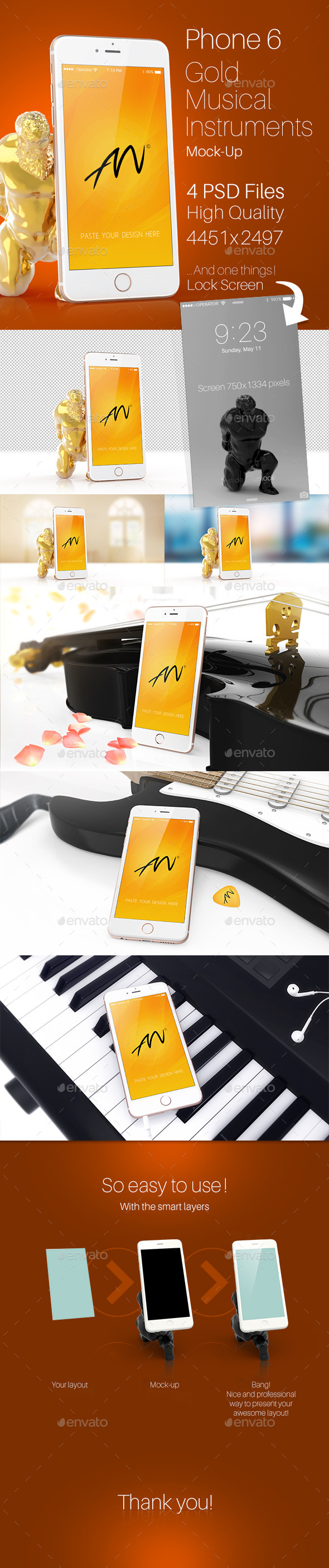 GraphicRiver Phone 6 Gold Musical Instruments Mock-Up 11033252