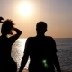 Silhouette Of Couple In Love At Sunset On The - VideoHive Item for Sale