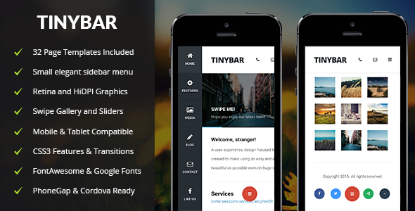 ThemeForest Tinybar Mobile & Tablet Responsive Template 11033345