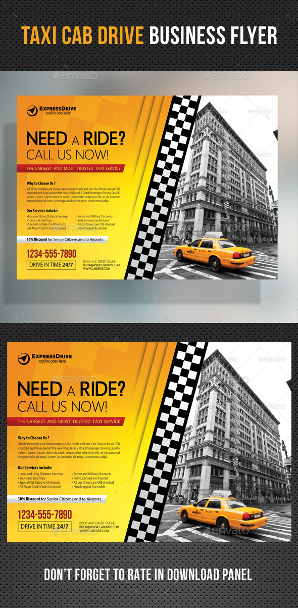 GraphicRiver Taxi Cab Drive Business Flyer 11033395