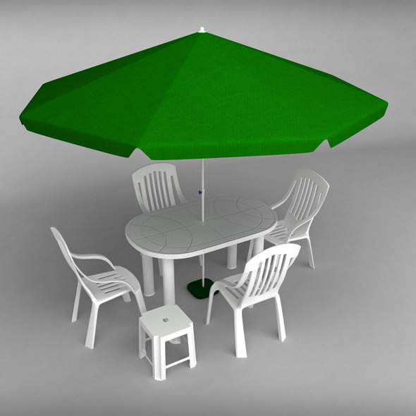 Garden plastic furniture set - 3DOcean Item for Sale