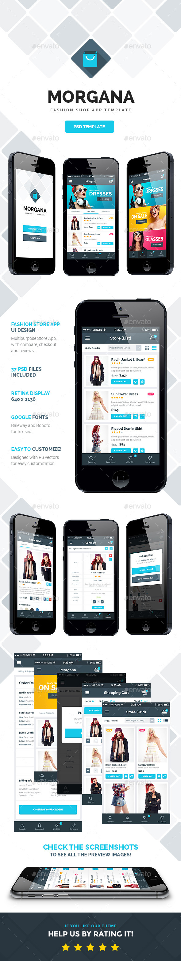 GraphicRiver Morgana Fashion Shop PSD App Template 11033466