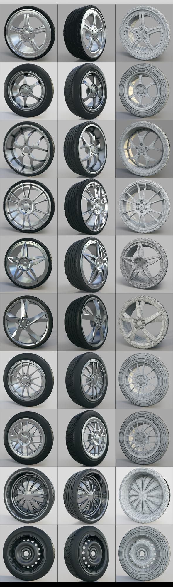 3DOcean High detailed car wheels 3D models 10 wheels 11033673