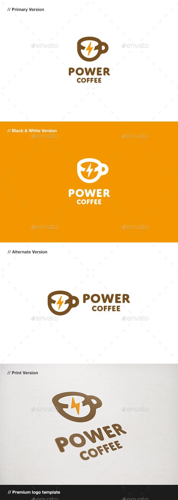 GraphicRiver Power Coffee Logo 11009109
