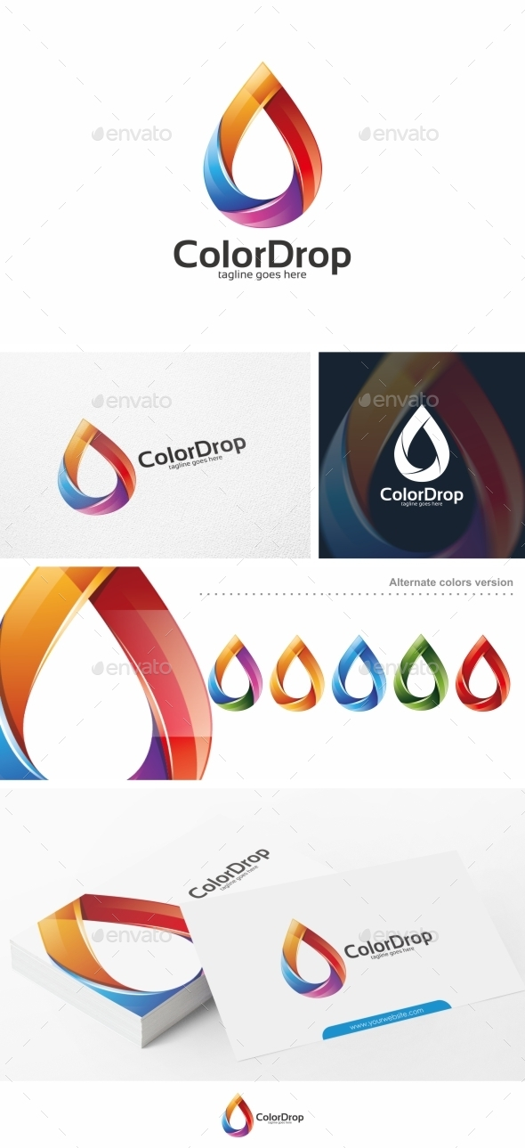 GraphicRiver Color Drop Droplet Logo Template 11034926