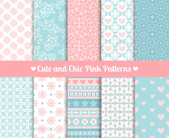 GraphicRiver Pink and Blue Patterns 11035014