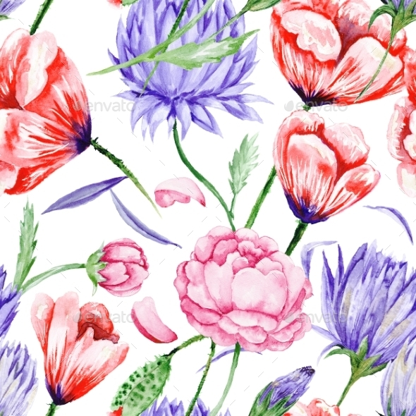 GraphicRiver Watercolor Floral Pattern 11035696