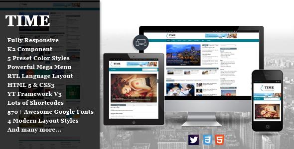 ThemeForest SJ Time Responsive News Portal Joomla Template 11035698