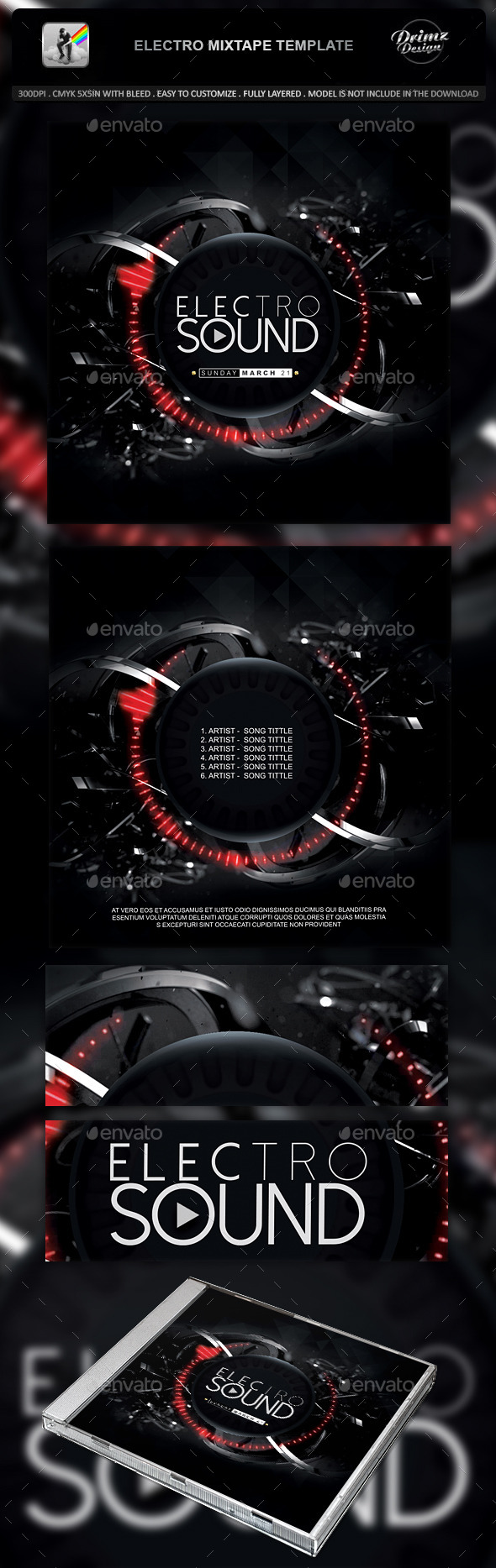 GraphicRiver Electro Mixtape Template 11035795
