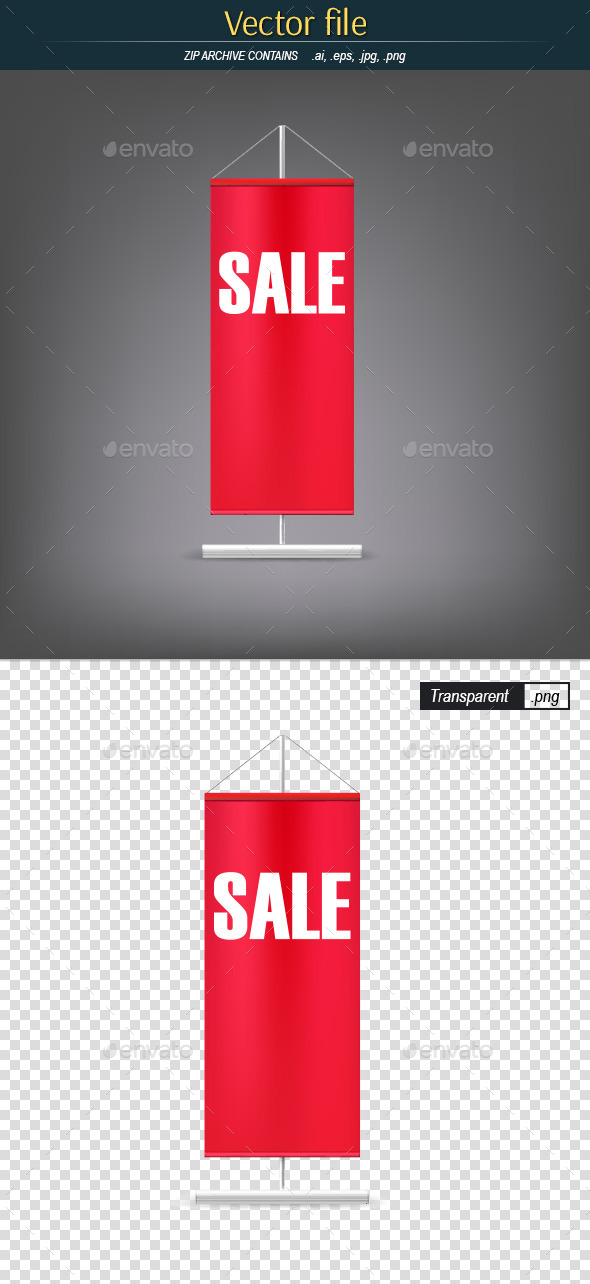 GraphicRiver Vertical Red Flag with Advertising Sales 11035810