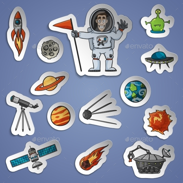 GraphicRiver Space Stickers Set 11035814