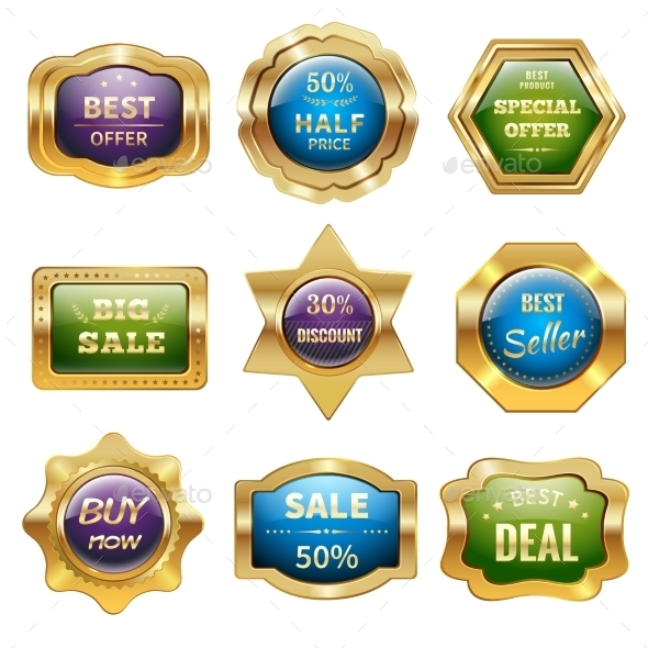 GraphicRiver Golden Sale Badges 11035823