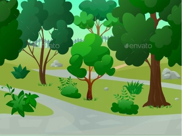 GraphicRiver Park Landscape Illustration 11035825