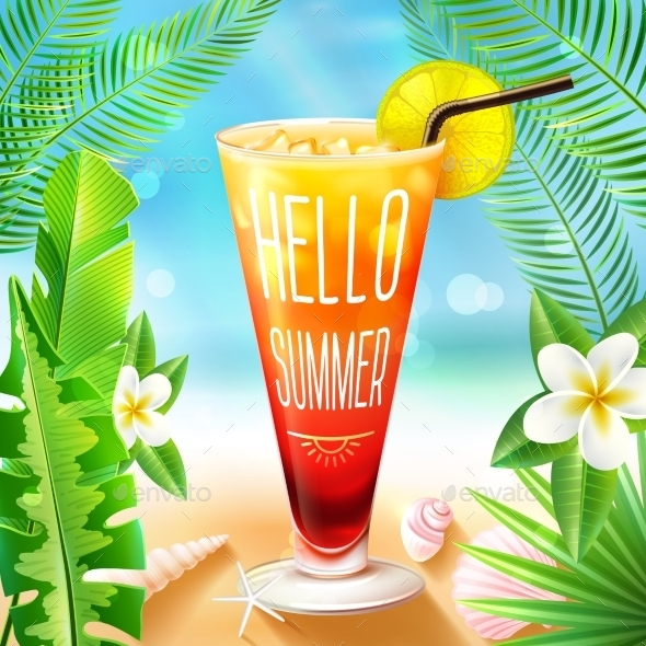 GraphicRiver Summer Design With Cocktail 11035835