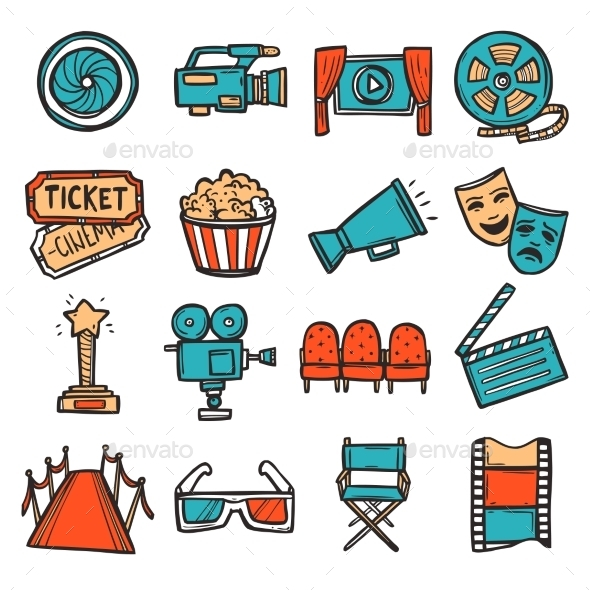 GraphicRiver Cinema Icons Set Color 11035838