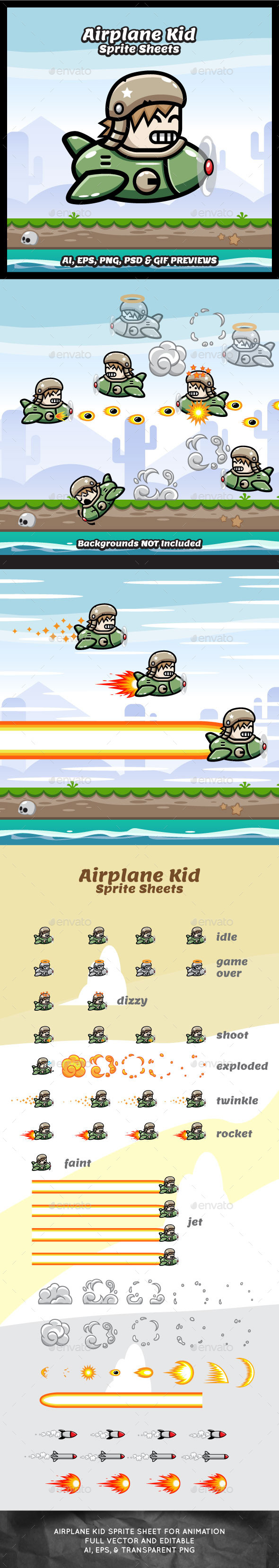 GraphicRiver Game Character Air Plane Kid Sprites 11035956