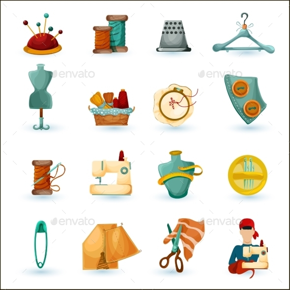 GraphicRiver Sewing Icons Set 11035973