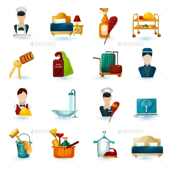 GraphicRiver Hotel Maid Icons 11035980