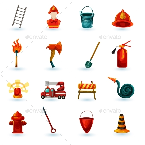 GraphicRiver Firefighter Icons Set 11035988