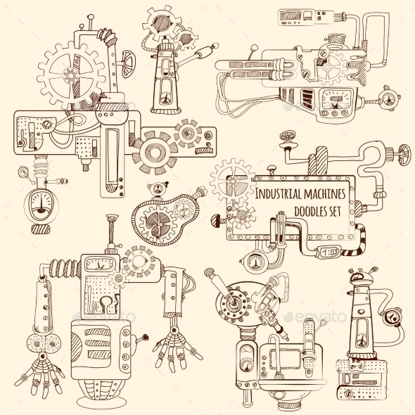 GraphicRiver Industrial Machines Doodles Set 11035993