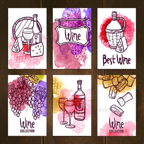 GraphicRiver Wine Cards Set 11036020