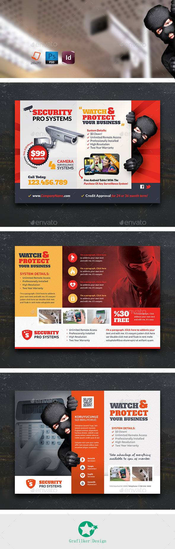 GraphicRiver Security Systems Flyer Bundle Templates 11036175
