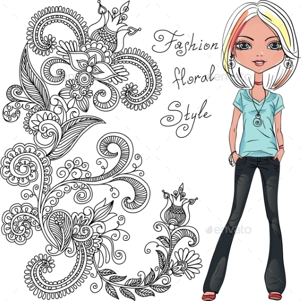 GraphicRiver Fashion Hipster Girl 11036586