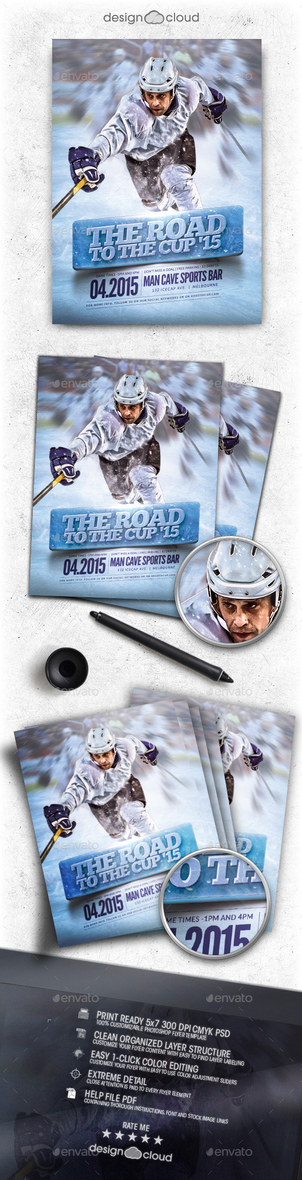 GraphicRiver Hockey Road to the Cup 15 Flyer Template 11037104
