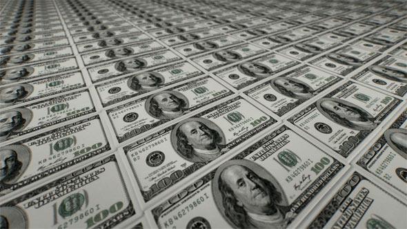 Camera Flying Over Stacked Money $100 Bill
