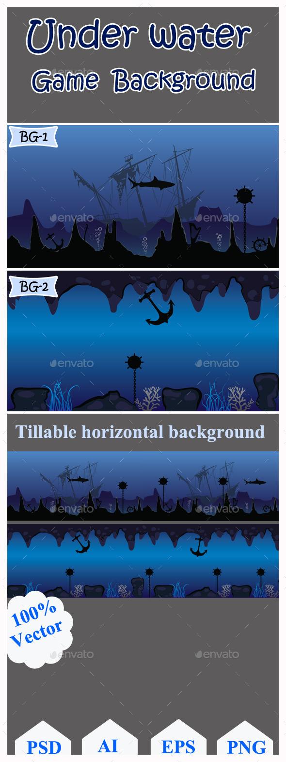GraphicRiver Under Water Game Background 11037628