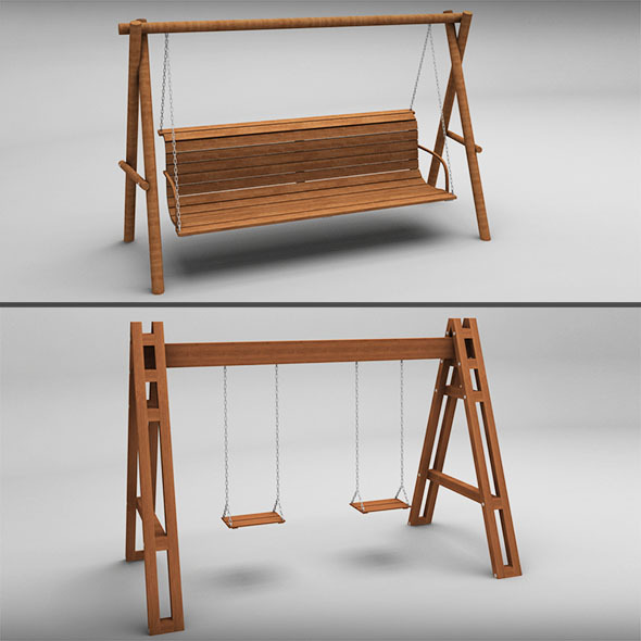 Garden wooden swings pack - 3DOcean Item for Sale