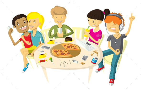 GraphicRiver Friends in Pizzeria 11037765