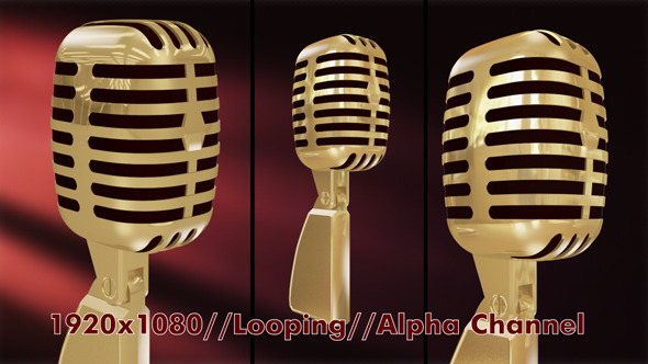 Retro Microphone Looping with Alpha Channel