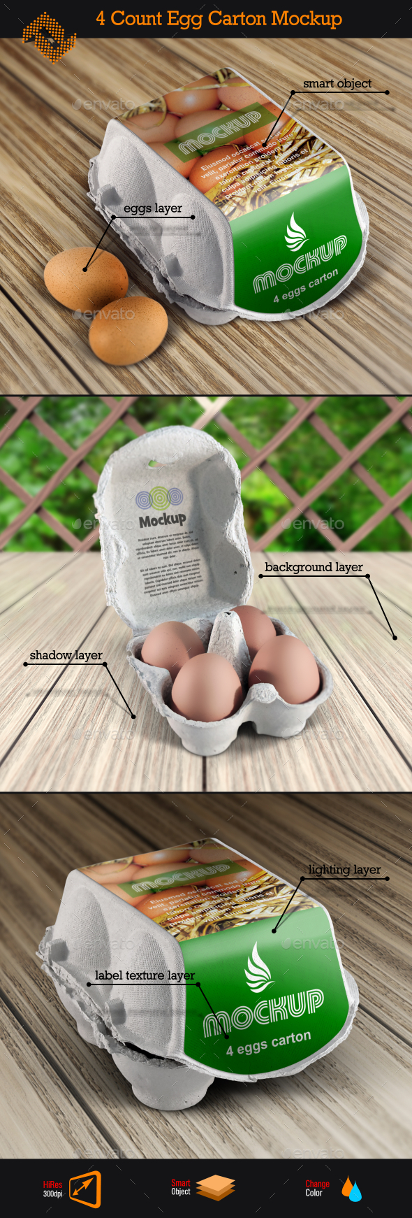 GraphicRiver 4 Count Egg Carton Mockup 11037981