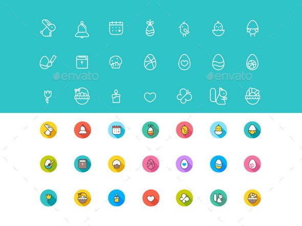GraphicRiver Easter Icons Pack Flat Colorful & Stroke 21 Items 11037986