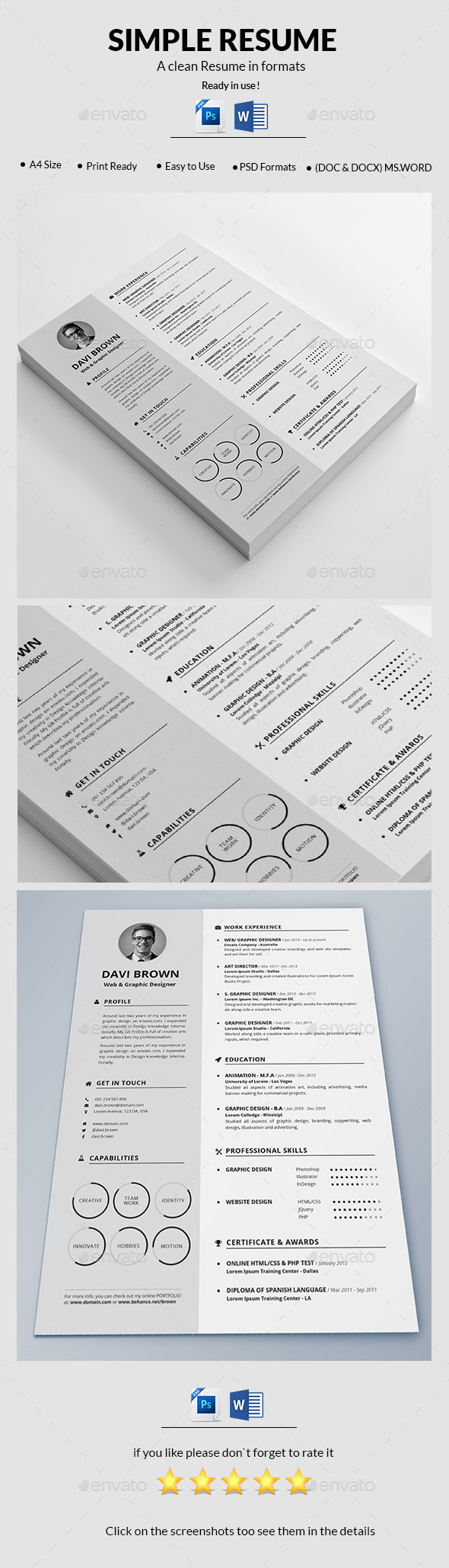 GraphicRiver Simple Resume 10995586