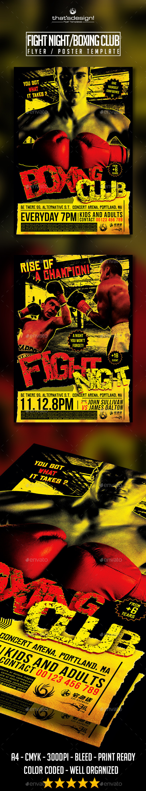 GraphicRiver Fight Night Boxing Club Flyer Poster Template 11038651