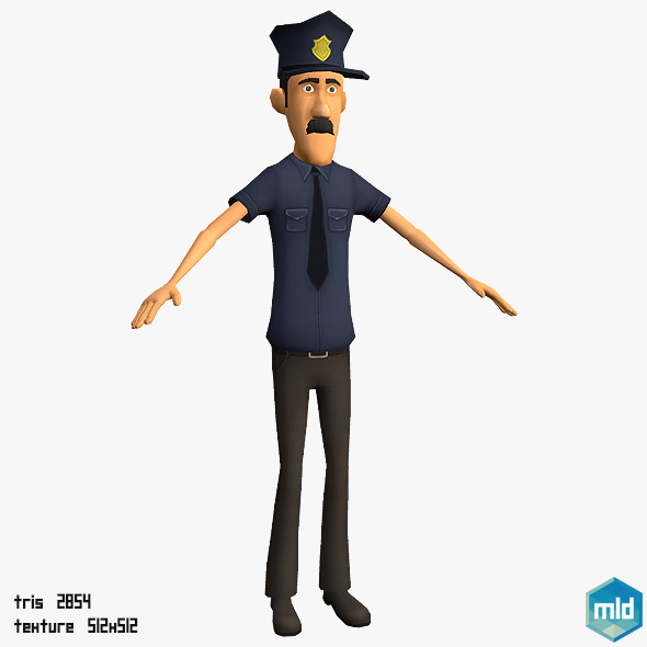 Low Poly Police Man - 3DOcean Item for Sale