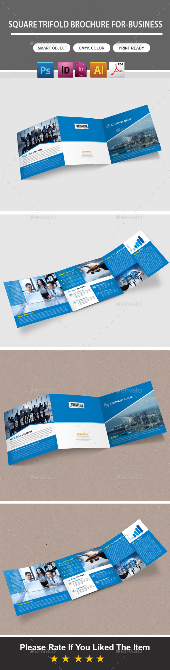 GraphicRiver Square Trifold Brochure For-Business 10875461