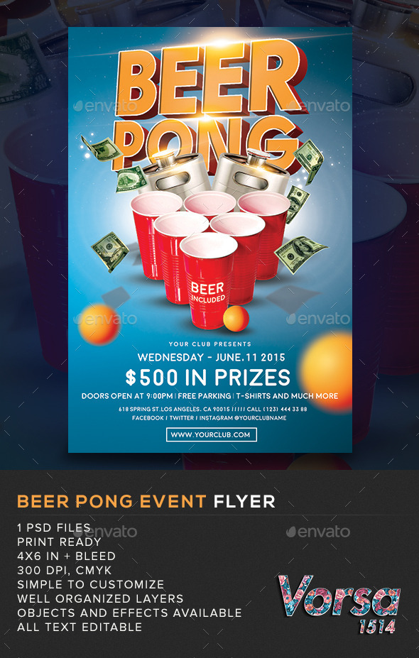 GraphicRiver Beer Pong Event Flyer 11038845