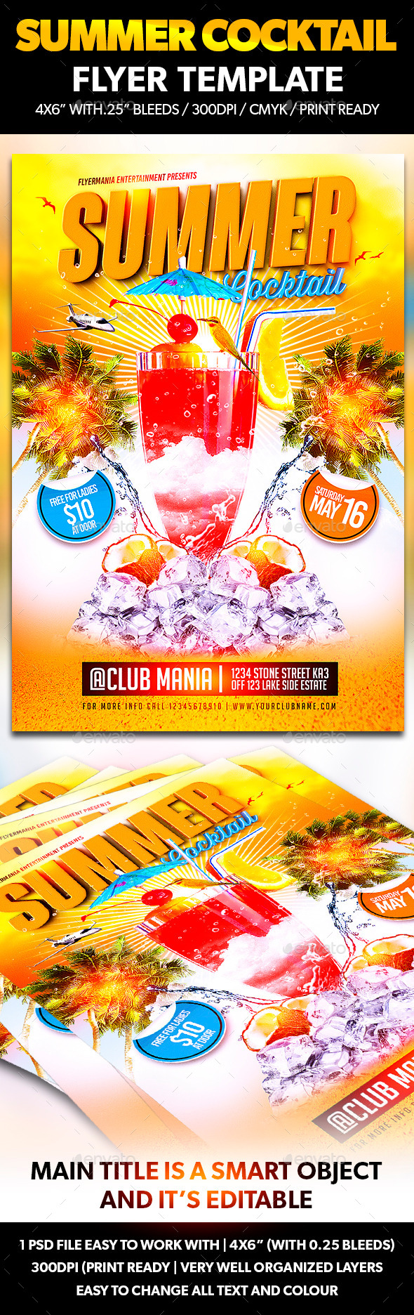 GraphicRiver Summer Cocktail Flyer Template 11002264