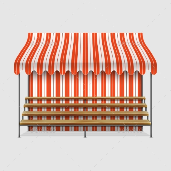 GraphicRiver Market Stall With Wooden Shelves 11039368
