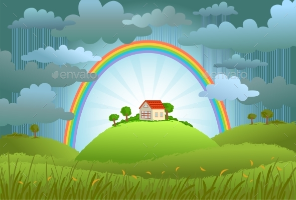 GraphicRiver Rainbow Protects a Small House 11039610